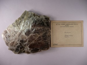 Sample of mica (biotite) from the collections of the NTNU Vitenskapsmuseet.