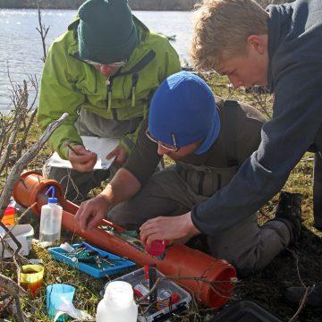 Med god hjelp av Adam Piper fra Zoological Society of London og 9. klassingen Johan fra Valnesfjord blir enda en sjøørret utstyrt med elektronisk sender.