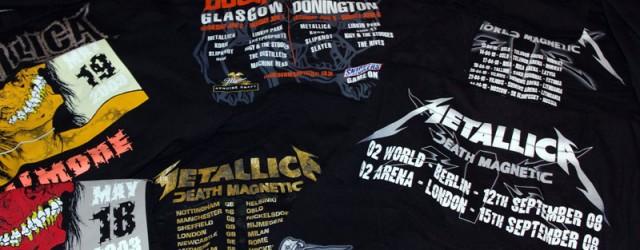 """Eg samlar på t-skjorter. Nærare bestemt Metallica-skjorter. Heilt spesifikt skal det stå namnet på by og dato der eg har vore på konsert på skjorta. Det betyr ikkje at eg <a href=""""https://blogg.vm.ntnu.no/sansogsamling/2011/03/07/konsertskjorter/#more-'"""" class=""""more-link"""">more »</a>"""