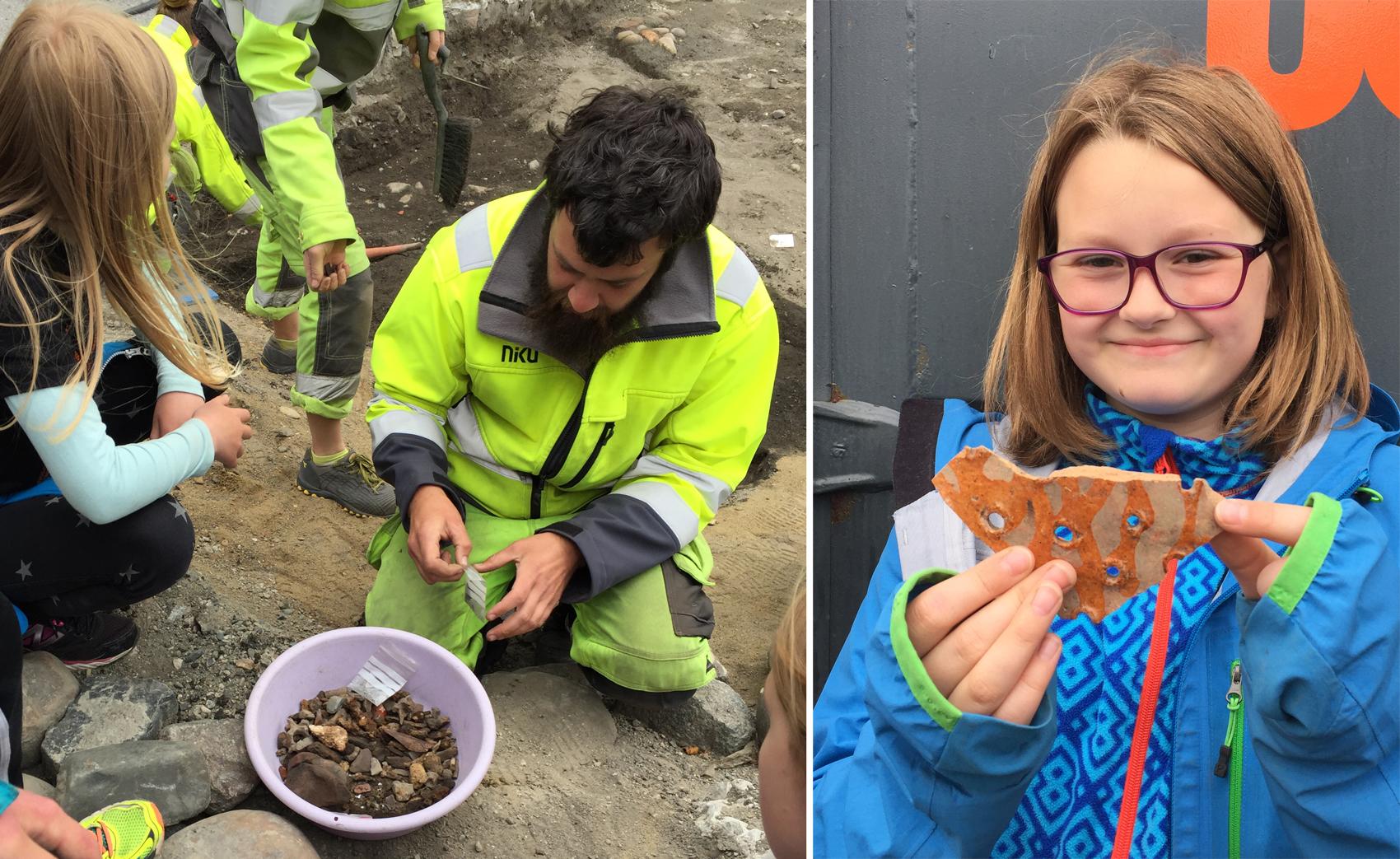 Julian Cadamarteri viser frem alt det spennende de har funnet så langt i utgravningen på Torvet. Piper, mynter og do. Spennende saker. Foto: Lise Mariann Alsli, NTNU Vitenskapsmuseet