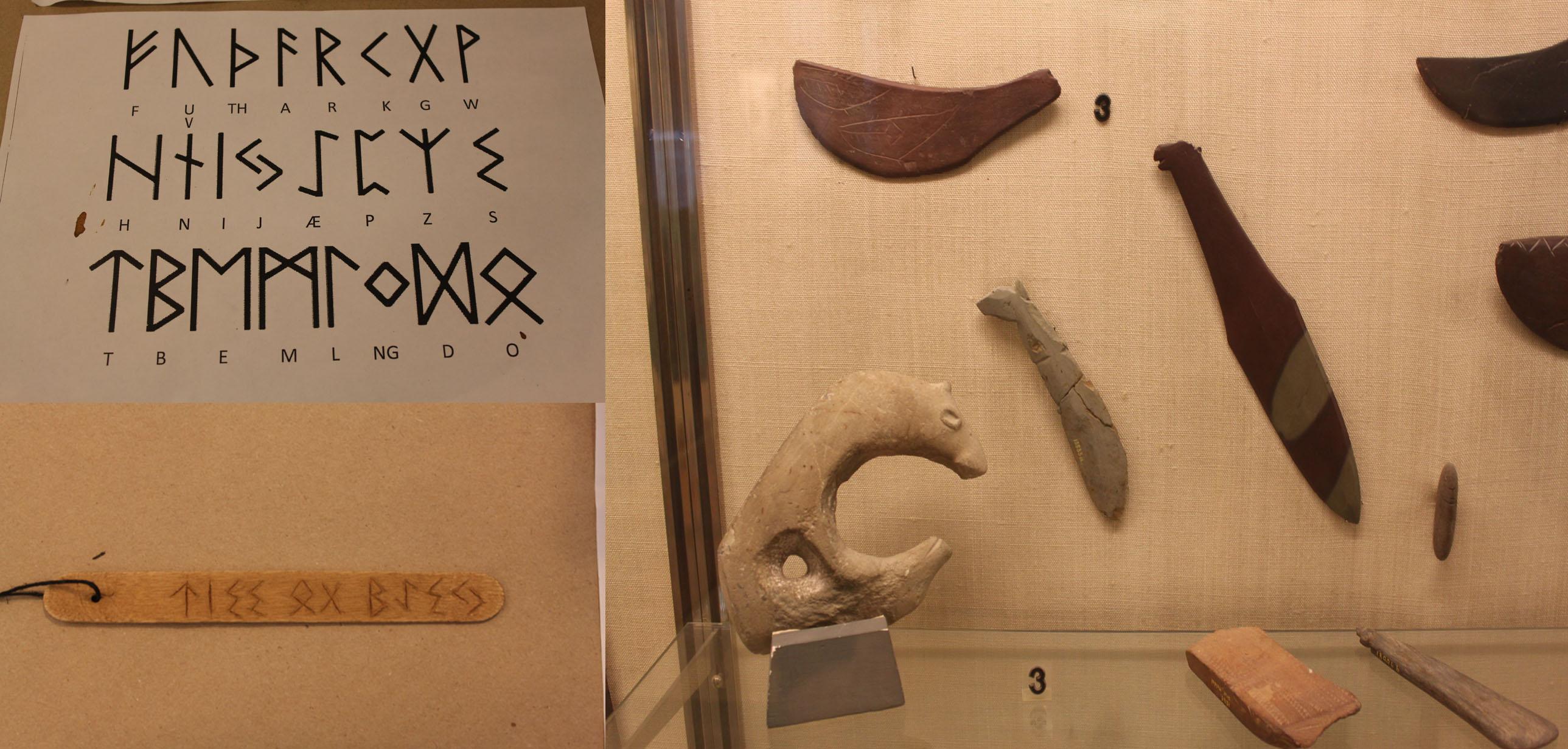 Høyre: Steinalderredskaper, Venstre: Et av runealfabetene og en runepinne.