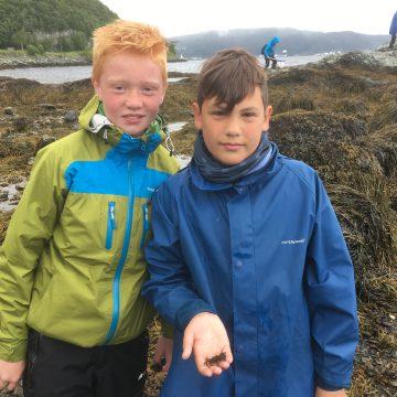 Gutta boys har funnet seg en strandkrabbe. Foto: Vilde Skjemstad Værness, NTNU Vitenskapsmuseet